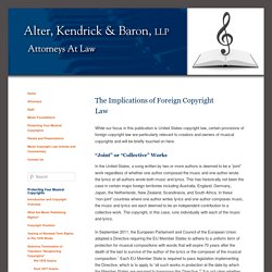 The Implications of Foreign Copyright Law -