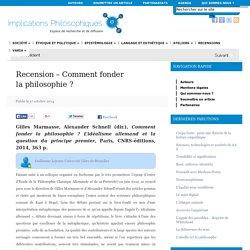 Recension – Comment fonder la philosophie