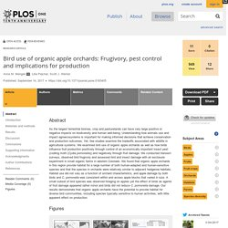 PLOS 14/09/17 Bird use of organic apple orchards: Frugivory, pest control and implications for production