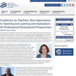 Academics as Teachers: New Approaches to Teaching and Learning and Implications for Professional Development Programmes