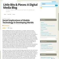 Social Implications of Mobile Technology in Developing Worlds