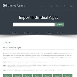 Import Individual Pages - Theme Fusion