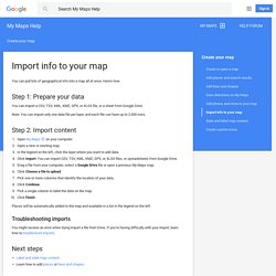 Import info to your map - My Maps Help