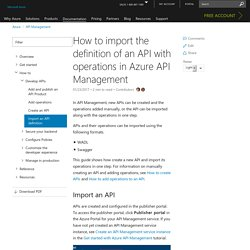 Import an API into Azure API Management