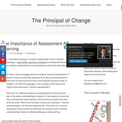 The Importance of Assessment AS Learning