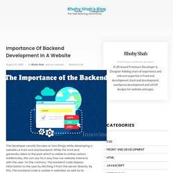 Importance Of Backend Development In A Website – Rhohy Shah's