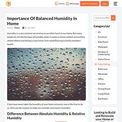 Importance of Balanced Humidity
