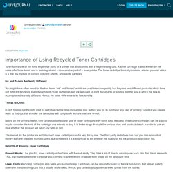Importance of Using Recycled Toner Cartridges