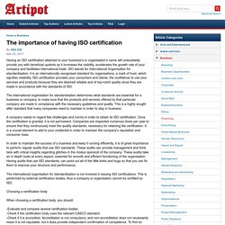 The importance of having ISO certification
