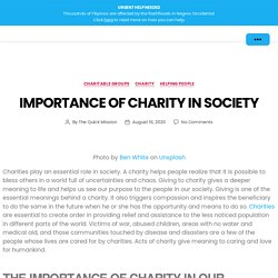 Importance of Charity in Society