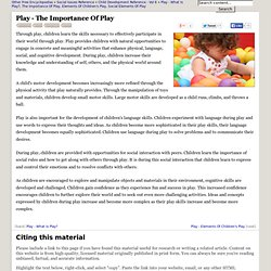 Play - The Importance Of Play - Children, Skills, Language, Social, Development, and World