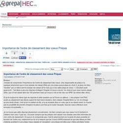 Importance de l'ordre de classement des voeux Prépas : Admission post-bac: dossier d'entrée en prépa
