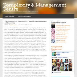 The importance of the complexity sciences for management and leadership