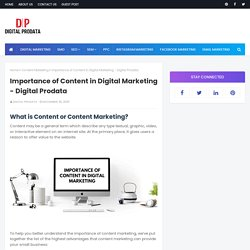 Importance of Content in Digital Marketing - Digital Prodata