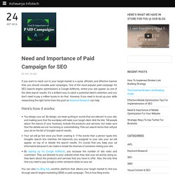 Need and Importance of Paid Campaign for SEO