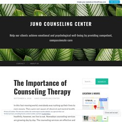 The Importance of Counseling Therapy