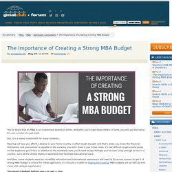 The Importance of Creating a Strong MBA Budget