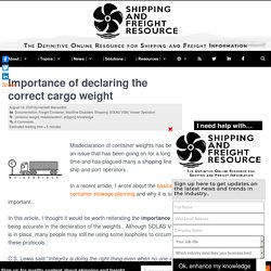 Importance of declaring the right cargo weight