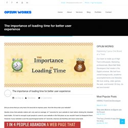 The importance of loading time for better user experience