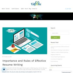 Importance and Rules of Effective Resume Writing - Edfinite