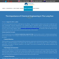 The importance of Chemical Engineering in The Long Run - My Home Work