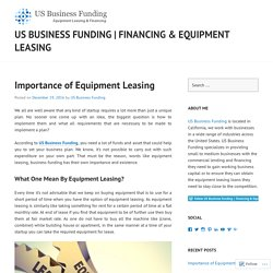 Importance of Equipment Leasing