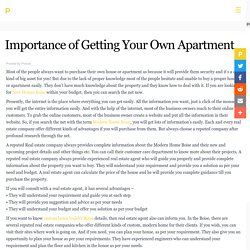 Importance of Getting Your Own Apartment