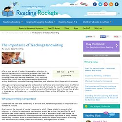 The Importance of Teaching Handwriting