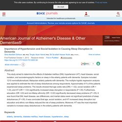 Importance of Hypertension and Social Isolation in Causing Sleep Disruption in Dementia