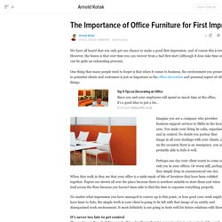 The Importance of Office Furniture for First Impressions