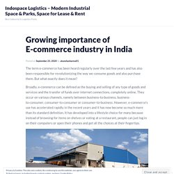 Growing importance of E-commerce industry in India – Indospace Logistics