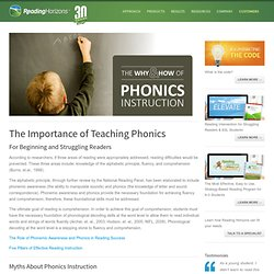 The Importance of Phonics Instruction for Beginning and Struggling Readers
