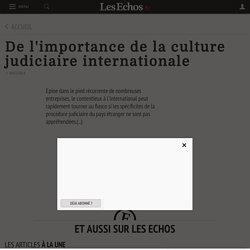 De l'importance de la culture judiciaire internationale - Les Echos