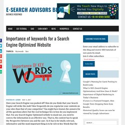 Importance of keywords for a Search Engine Optimized Website - E-Search Advisors Blog