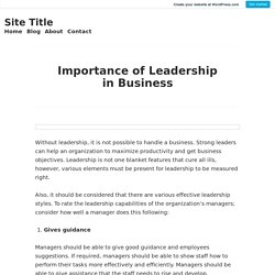 Importance of Leadership in Business – Site Title