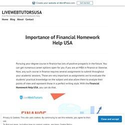 Importance of Financial Homework Help USA