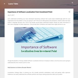 Importance of Software Localization from Investment Point