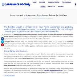 Importance of Maintenance of Appliances Before the Holidays in FL