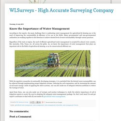 WLSurveys - High Accurate Surveying Company : Know the Importance of Water Management