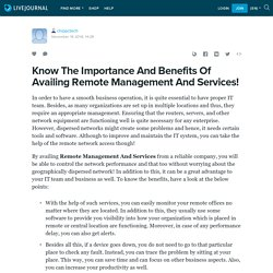 Know The Importance And Benefits Of Availing Remote Management And Services!: chippctech