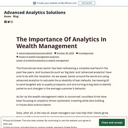 The Importance Of Analytics In Wealth Management