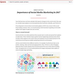 Importance of Social Media Marketing in 2017 - SemiDot InfoTech - Quora