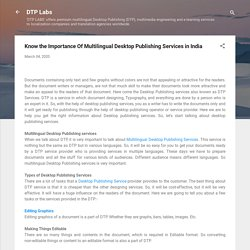 Know the Importance Of Multilingual Desktop Publishing Services in India