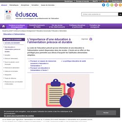ÉduSCOL - Nutrition - L'éducation nutritionnelle