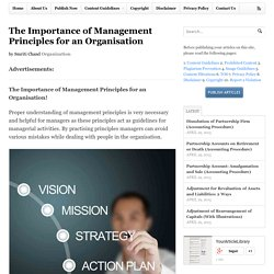 The Importance of Management Principles for an Organisation