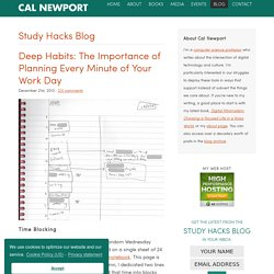 Deep Habits: The Importance of Planning Every Minute of Your Work Day - Study Hacks - Cal Newport