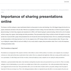 Importance of sharing presentations online