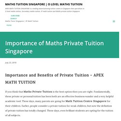 Importance of Maths Private Tuition Singapore