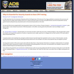 Importance of CPR Training for Professional Guards
