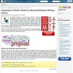 Importance of Native Writers in Research Proposal Writing Service